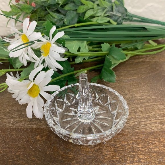 VTG Clear Cut Glass Ring Dish